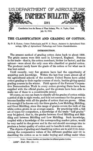 Primary view of object titled 'The Classification and Grading of Cotton'.