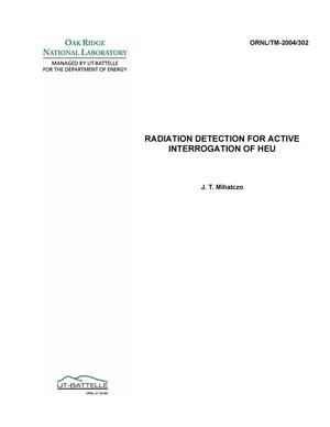 Primary view of object titled 'Radiation Detection for Active Interrogation of HEU'.