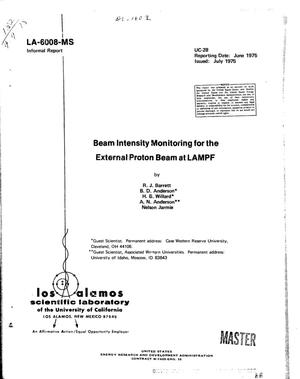 Primary view of object titled 'Beam intensity monitoring for the external proton beam at LAMPF'.