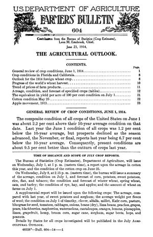Primary view of object titled 'The Agricultural Outlook: June 23, 1914'.
