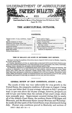 The Agricultural Outlook: August 22, 1914