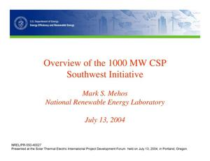 Primary view of object titled 'Overview of the 1000 MW CSP Southwest Initiative (Presentation)'.