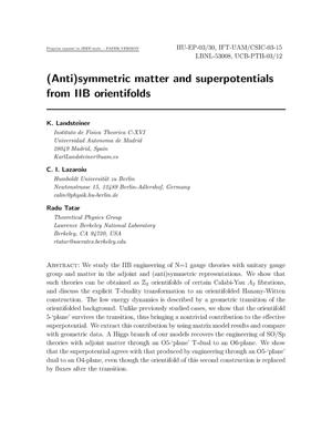Primary view of object titled '(Anti)symmetric matter and superpotentials from IIBorientifolds'.