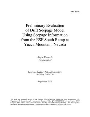 Primary view of object titled 'Preliminary Evaluation of Drift Seepage Model Using SeepageInformation from the ESF South Ramp at Yucca Mountain, Nevada'.