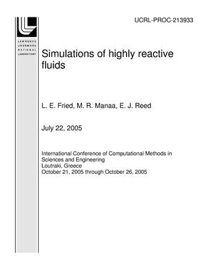 Primary view of object titled 'Simulations of highly reactive fluids'.