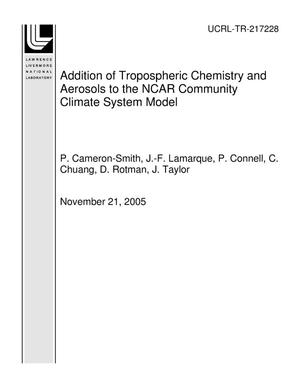 Primary view of object titled 'Addition of Tropospheric Chemistry and Aerosols to the NCAR Community Climate System Model'.