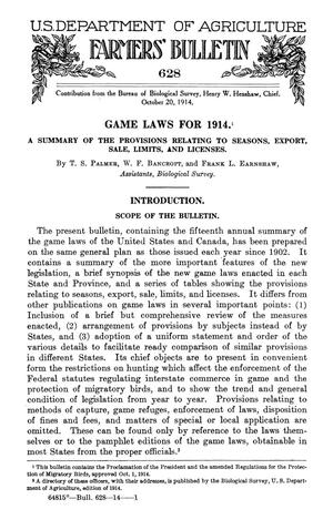 Primary view of object titled 'Games Laws for 1914: A Summary of the Provisions Relating to Seasons, Export, Sale, Limits, and Licenses'.