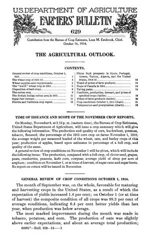 The Agricultural Outlook: October 16, 1914
