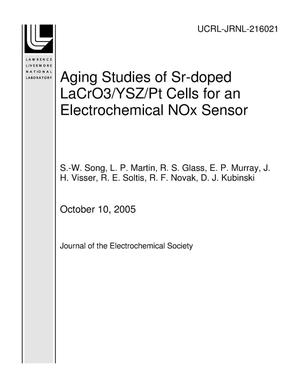 Primary view of object titled 'Aging Studies of Sr-doped LaCrO3/YSZ/Pt Cells for an Electrochemical NOx Sensor'.