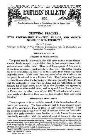 Primary view of object titled 'Growing Peaches: Sites, Propagation, Planting, Tillage, and Maintenance of Soil Fertility'.
