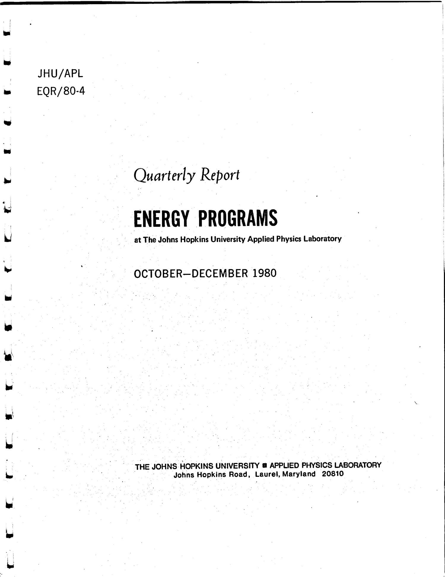 Energy Programs at the Johns Hopkins University Applied Physics Laboratory, Quarterly Report, October-December 1980                                                                                                      [Sequence #]: 4 of 57