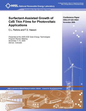 Primary view of object titled 'Surfactant-Assisted Growth of CdS Thin Films for Photovoltaic Applications'.