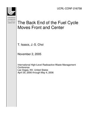 Primary view of object titled 'The Back End of the Fuel Cycle Moves Front and Center'.