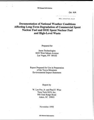 Primary view of object titled 'DOCUMENTATION OF NATIONAL WEATHER CONDITIONS AFFECTING LONG-TERM DEGRADATION OF COMMERCIAL SPENT NUCLEAR FUEL AND DOE SPENT NUCLEAR FUEL AND HIGH-LEVEL WASTE'.