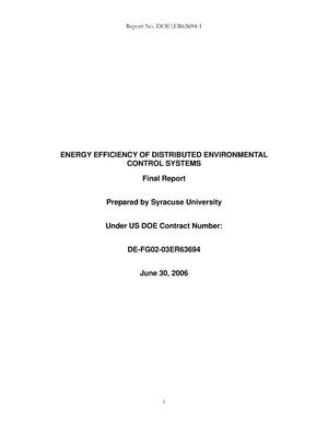 Primary view of object titled 'Energy Efficiency of Distributed Environmental Control Systems'.