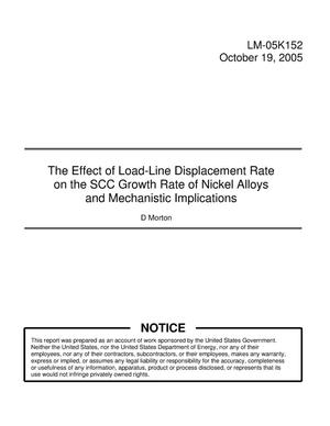 Primary view of object titled 'The Effect of Load-Line Displacement Rate on the SCC Growth Rate of Nickel Alloys and Mechanistic Implications'.