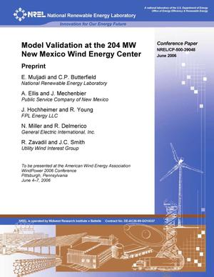Primary view of object titled 'Model Validation at the 204 MW New Mexico Wind Energy Center: Preprint'.