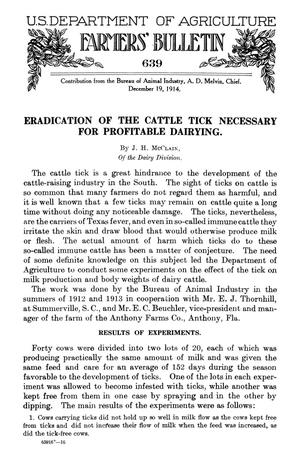 Primary view of object titled 'Eradication of the Cattle Tick Necessary for Profitable Dairying'.