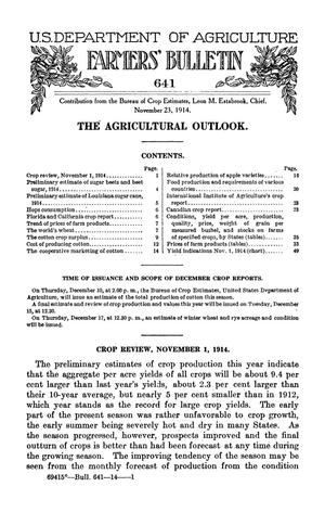 Primary view of object titled 'The Agricultural Outlook: November 23, 1914'.