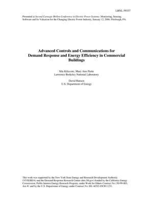 Primary view of object titled 'Advanced Controls and Communications for Demand Response andEnergy Efficiency in Commercial Buildings'.