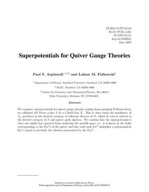 Primary view of object titled 'Superpotentials for Quiver Gauge Theories'.