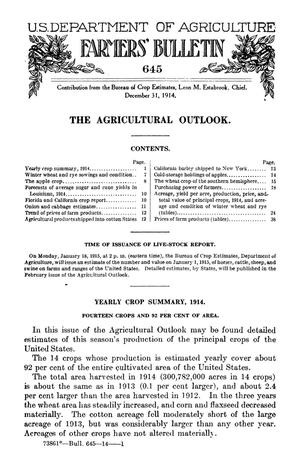 Primary view of object titled 'The Agricultural Outlook: December 31, 1914'.