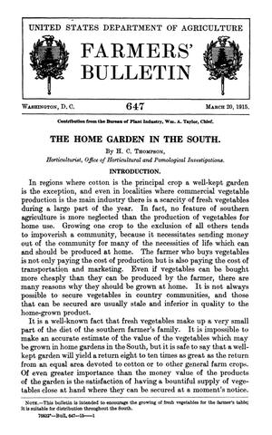 Primary view of object titled 'The Home Garden in the South'.