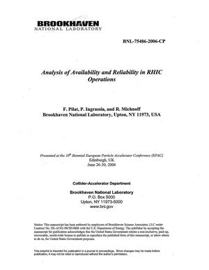 Primary view of object titled 'ANALYSIS OF AVAILABILITY AND RELIABILITY IN RHIC OPERATIONS.'.