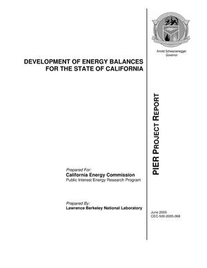 Primary view of object titled 'Development of Energy Balances for the State of California'.