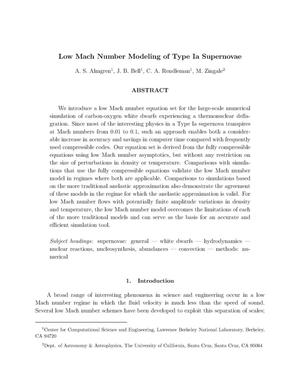 Primary view of object titled 'Low Mach Number Modeling of Type Ia Supernovae'.