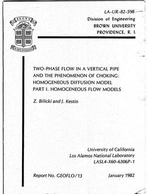 Primary view of object titled 'Two-phase flow in a vertical pipe and the phenomenon of choking: Homogeneous diffusion model. Part I. Homogeneous flow models'.