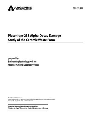 Primary view of object titled 'Plutonium-238 alpha-decay damage study of the ceramic waste form.'.