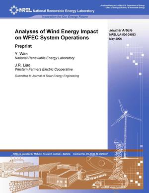 Primary view of object titled 'Analyses of Wind Energy Impact on WFEC System Operations: Preprint'.