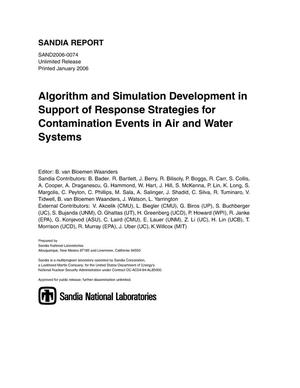 Primary view of object titled 'Algorithm and simulation development in support of response strategies for contamination events in air and water systems.'.