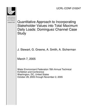 Primary view of object titled 'Quantitative Approach to Incorporating Stakeholder Values into Total Maximum Daily Loads: Dominguez Channel Case Study'.