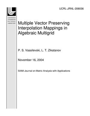 Primary view of object titled 'Multiple Vector Preserving Interpolation Mappings in Algebraic Multigrid'.