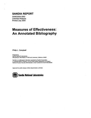 Primary view of object titled 'Measures of effectiveness:an annotated bibliography.'.