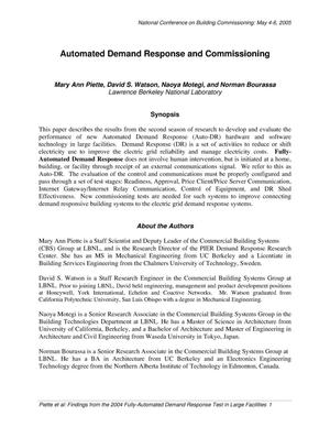 Primary view of object titled 'Automated Demand Response and Commissioning'.