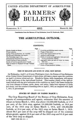Primary view of object titled 'The Agricultural Outlook: March 20, 1915'.