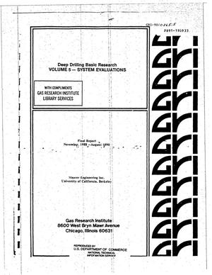 Primary view of object titled 'Deep Drilling Basic Research: Volume 5 - System Evaluations. Final Report, November 1988--August 1990'.