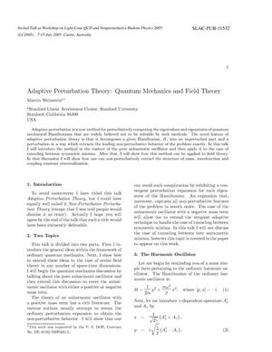 Primary view of object titled 'Adaptive Perturbation Theory: Quantum Mechanics and Field Theory'.