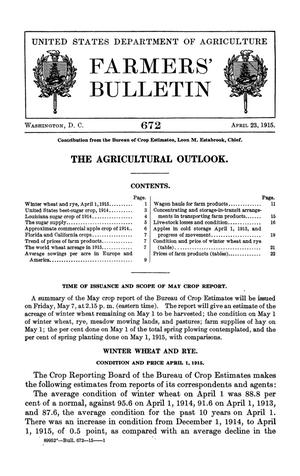 The Agricultural Outlook: April 23, 1915