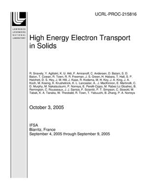 Primary view of object titled 'High Energy Electron Transport in Solids'.