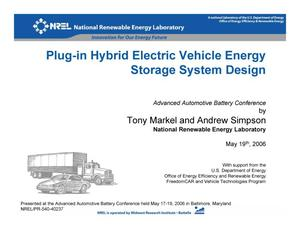 Primary view of object titled 'Plug-in Hybrid Electric Vehicle Energy Storage System Design (Presentation)'.