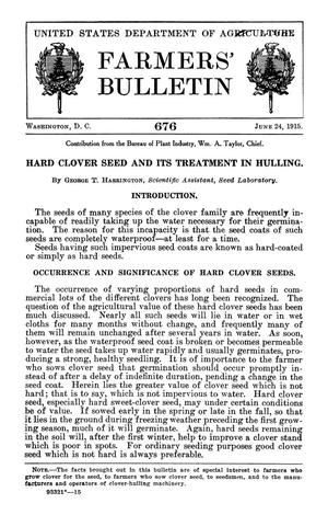 Primary view of object titled 'Hard Clover Seed and Its Treatment in Hulling'.