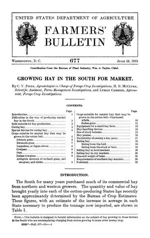 Primary view of object titled 'Growing Hay in the South for Market'.