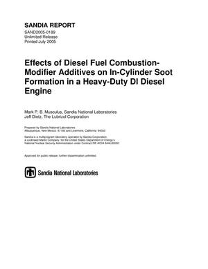 Primary view of object titled 'Effects of diesel fuel combustion-modifier additives on In-cylinder soot formation in a heavy-duty Dl diesel engine.'.