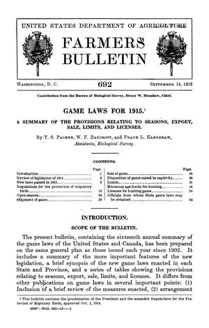 Primary view of object titled 'Games Laws for 1915: A Summary of the Provisions Relating to Seasons, Export, Sale, Limits, and Licenses'.