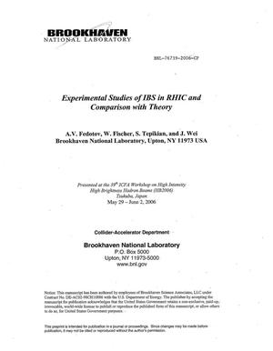 Primary view of object titled 'EXPERIMENTAL STUDIES OF IBS (INTRA-BEAM SCATTERING) IN RHIC AND COMPARISON WITH THEORY.'.
