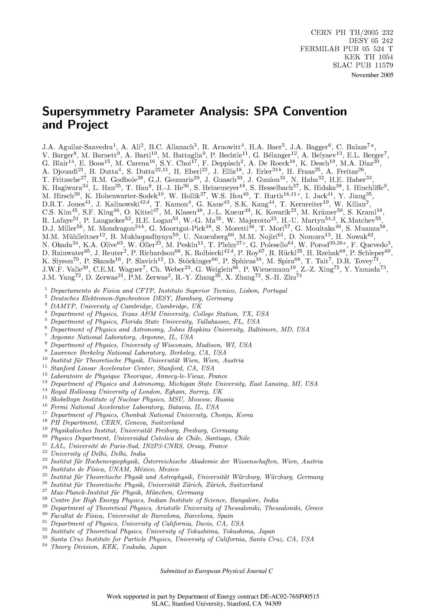 Supersymmetry Parameter Analysis: SPA Convention andProject                                                                                                      [Sequence #]: 1 of 19